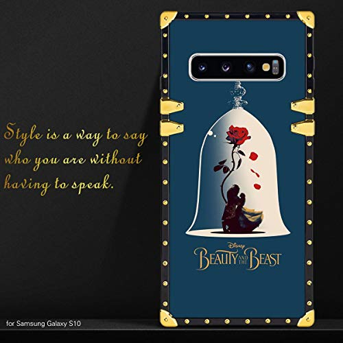 DISNEY COLLECTION Square Case Galaxy S10 Belle Disney Love Princess Rose Beauty and The Beast Luxury Soft TPU Shockproof Protective Metal Decoration Back Cover Case
