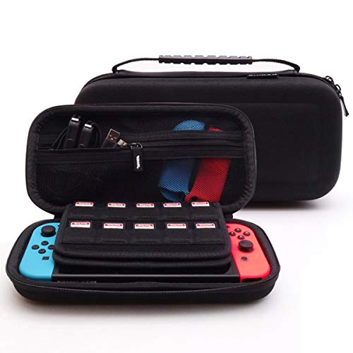 GHKJOK Portable Hard Carrying Travel SWITCH Game Machine Storage Case for External,USB, DVD, CD, Blu-ray Rewriter/Writer and Optical Drives—SWITCH Black Game Machine Bag with Handle