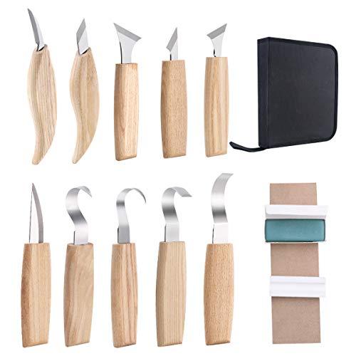 カービングナイフ フックナイフ スプーンナイフ 彫刻刀 ウッドカービング木工 砥石 & 収納袋付き( 3本セット ) (10本 セット収納袋付)