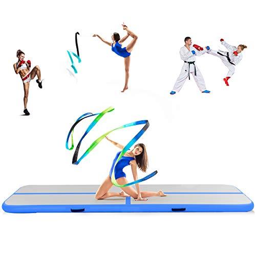 COSTWAY Air Track Esterilla Hinchable Gimnasia Yoga colchón para Gimnasio casa con Bomba, Turquesa, 300 x 100 x 10cm