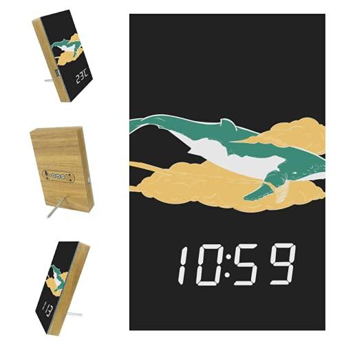 EZIOLY Green Shark - Despertador digital negro con pantalla de tiempo y fecha, luz LED, resina de madera, funciona con USB, funciona con pilas, ahorro de energía para dormitorio, oficina