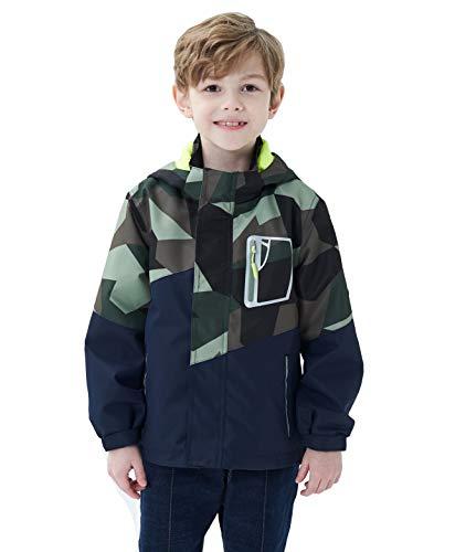 Boys Girls Rain Jackets Hooded Fleece Lined Waterproof Lightweight Coats Windbreakers Raincoats for Kids Army Green S