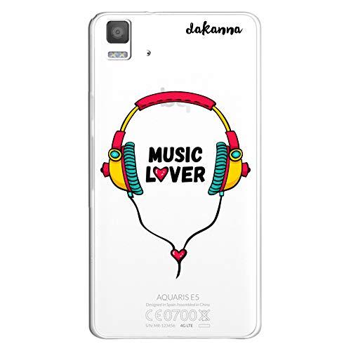dakanna Funda para BQ Aquaris E5 4G - E5S | Auriculares con Frase: Music Lover | Carcasa de Gel Silicona Flexible | Fondo Transparente