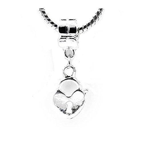 Sexy brilla de las mujeres Corazón con llave apertura Dangle Charm
