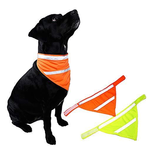 Kalining 2 Pack REFLECTIVE DOG BANDANA Large/medium/small with Personalized Neon Color,Safety Dog Bandana Orange Dog Scarf High Visibility Bib Dog Walking at Night(L)
