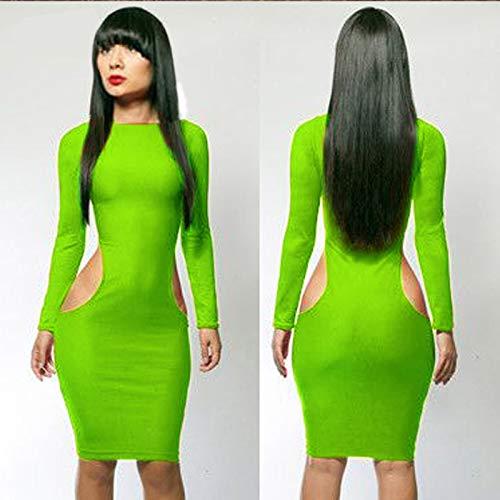 ZHIDEYONGYOU Sexy integrità Attraverso bilaterale Abito di Colore Piccole Caramelle 3771 esposto Associazione Addominale,Verde,L