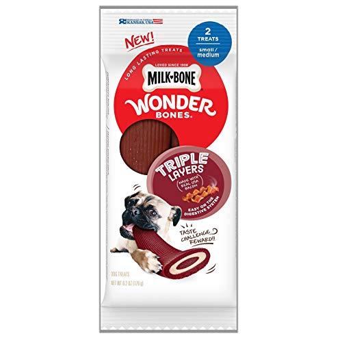 Milk-Bone Wonder Bones Dog Treats, Real Bacon, 2 Small/Medium Triple Layers (Pack of 8)