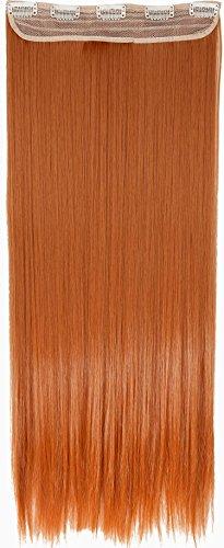 Clip in Extensions wie Echthaar Orange Haarverlängerung Haarteil hitzebeständig Glatt 1 Tresse 5 Clips 26
