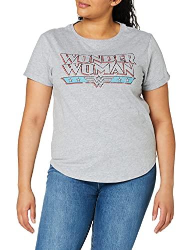 DC Comics Wonder Woman Retro Camiseta, Gris (Sport Grey SPO), 38 (Talla del Fabricante: Small) para Mujer