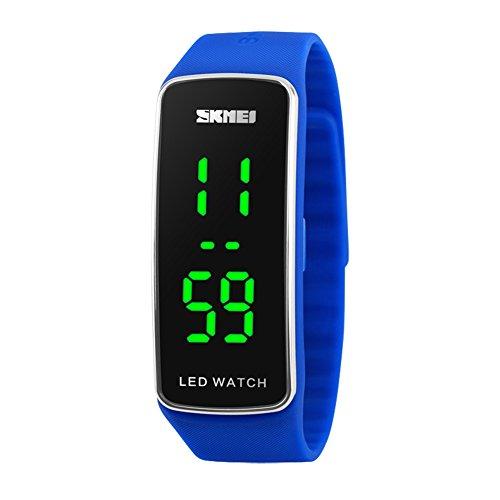 Kortusa LED Sport Digital Wrist Watch 50M Waterproof for Kids Boys Girls Men Women Silicone Bracelet Watch Blue