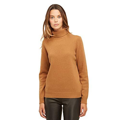 Dames Pullover Coltrui Sweater van 100% Virgin wol kleur beige camel