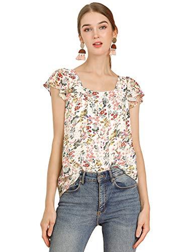 Allegra K Women's Chiffon Ruffle Sleeve Layered Floral Print Blouse Top Medium White