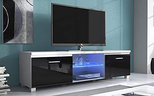 Skraut Home – Meuble Bas TV LED, Salon-Séjour, Blanc Mate et Noir Laqué, Dimensions: 150 x 40 x 42 cm de Profondeur.