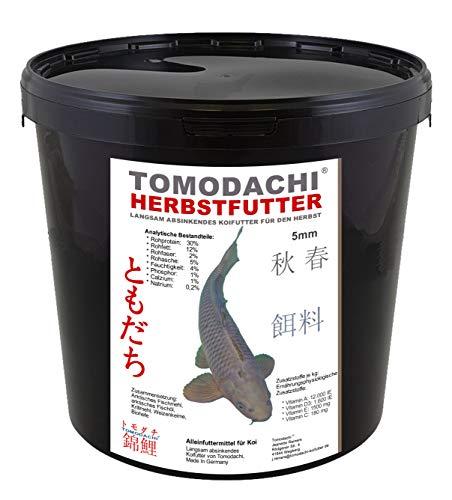 Herbstfutter für Koi, langsam sinkendes Koifutter für den Herbst, zur Vorbereitung auf den Winter, Tomodachi Autumn Food for Koi, 3kg im praktischen wiederverschließbaren Koifutter Eimer.