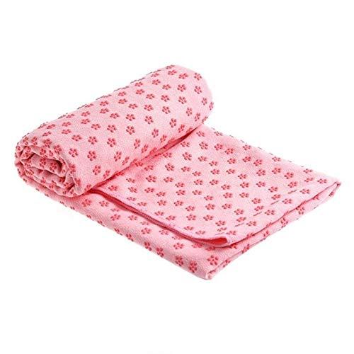 IAMZHL Yoga Mat Toalla Manta Antideslizante Alfombra Toalla de Resina punteada Toalla Absorbente de Sudor para Deporte Fitness Ejercicio Pilates Suministros-Pink 183x63cm