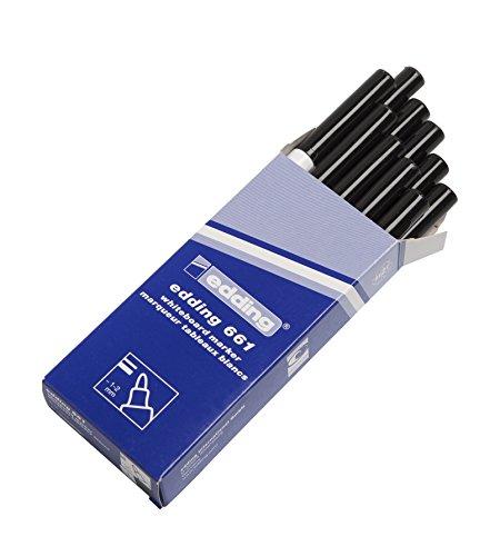 edding 661-001 - Marcador para pizarra blanca, 10 unidades, color negro