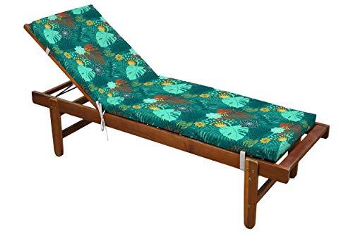 Colchón de baño de sol Puntacana desenfundable, azul celadón, 60 x 190 cm, 100 % microfibra, clip de clip (tumbona no incluida)