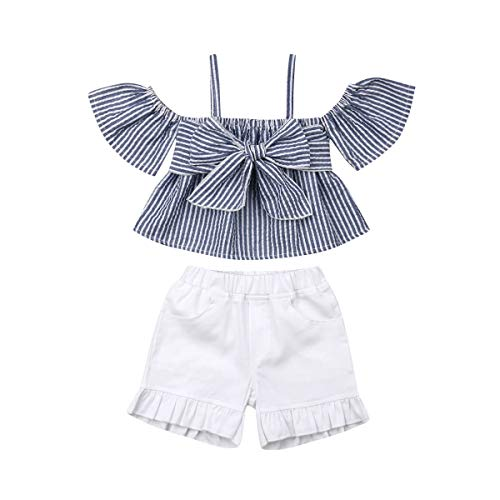 Toddler Baby Girl Floral Halter Ruffled Outfits Set Strap Crop Tops+Short Pants 2 PCS Clothes Set (Blue Plaid, 2-3 Years)