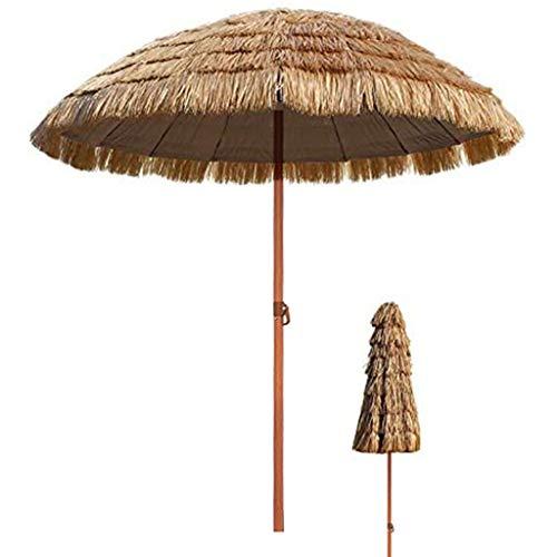 TX Ø 7.8ft/2.4m Tropical Spiaggia Hawaiana Paglia Ombrello Parasole, Esterna Impermeabile Ombra Sun per Garden Pool Patio Ombrelloni Rotonda con Tilt Funzione