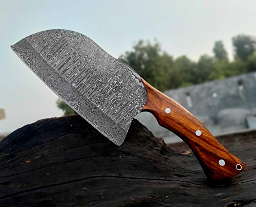 Handmade Damascus Steel Serbian Cleaver Chopper kitchen chef outdoor Knife ladder Pattern 11.5 Inches with leather sheath VKA5518