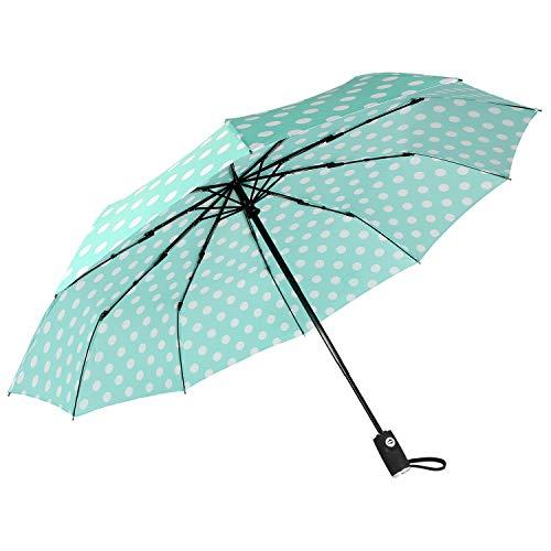 "Agaric Cute Polka Dots Compact Travel Umbrella - 10 Ribs Windproof Umbrella, 46"" Auto Open/Close Portable Umbrella with Reinforced Canopy and Ergonomic Handle (Mint)"