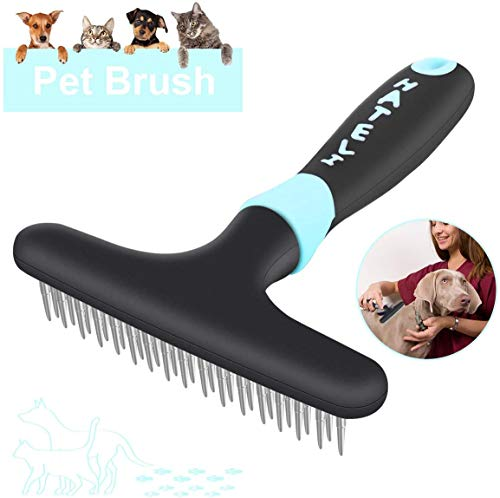 FPVERA Dog Dematting Brush Comb Undercoat Rake for Cats Dogs Short or Long Hair Pet Grooming Tool Double Row of Stainless Steel Pins-Blue