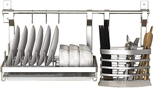 LLDKA Gratis geperforeerde wandgemonteerde keukenschotel afvoermand RVS opbergrek wandplank kruiden