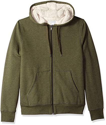 Amazon Essentials Men's Sherpa Lined Full-Zip Hooded Fleece Sweatshirt, Olive, X-Large