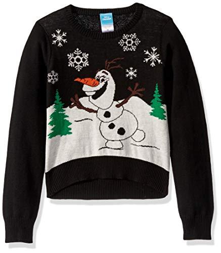 Disney Girls' Ugly Christmas Sweater, Olaf/Black, Large (10/12)