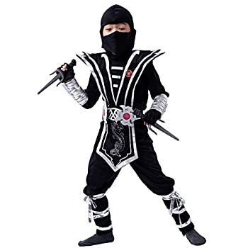 Silver Ninja Deluxe Costume Set with Ninja Foam Accessories Toys for Kids Kung Fu Outfit Halloween Ideas Small  5 – 7