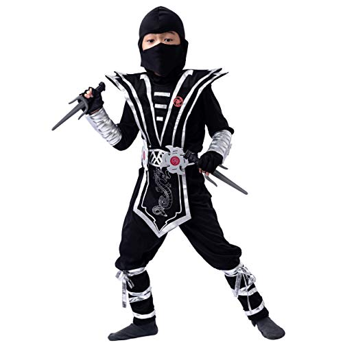 Silver Ninja Deluxe Costume Set with Ninja Foam Accessories toys for Kids Kung Fu Outfit Halloween Ideas (Large(10-11))