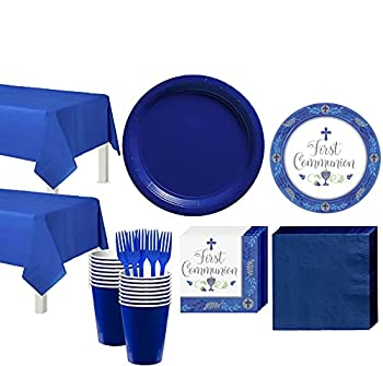 Party City Boy s First Communion Tableware Supplies for 36 Guests Include Plates Napkins Table Covers and Utensils