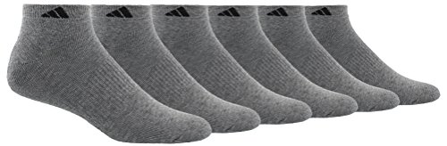 adidas Men's Athletic Cushioned Low Cut Socks (6-Pair), Heather Grey/Black, Large, (Shoe Size 6-12)