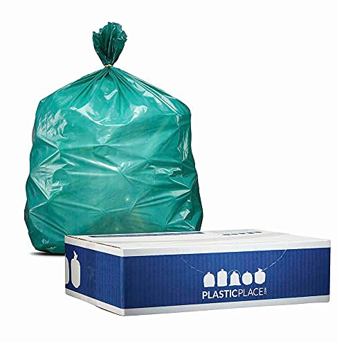"""Plasticplace 55-60 gallon Trash Bags │ 1.2 Mil │ Green Heavy Duty Garbage Can Liners │ 38"""" x 58"""" (50Count)"""
