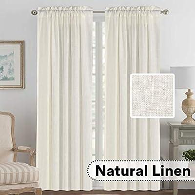 "H.VERSAILTEX Linen Curtains Elegant Natural Linen Blended Curtains Energy Efficient Light Filtering/Rod Pocket Window Treatments Panels/Drapes for Livingroom (Set of 2, Ivory, 52"" x 108"")"
