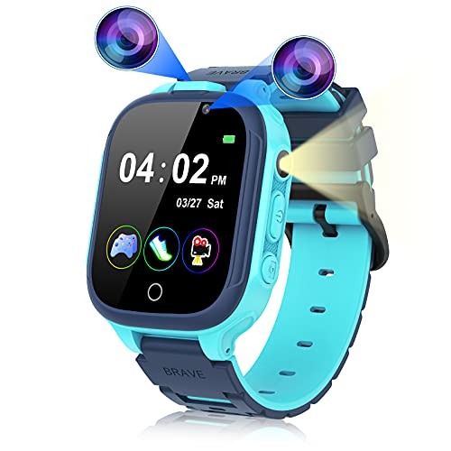 Reloj inteligente para niños y niñas, reloj inteligente para niños con doble cámara 14 juegos, podómetro, pantalla táctil para...