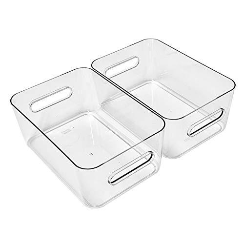 Quality-Collection Kühlschrank Organizer Boxen-Set mit Beschriftungsetiketten (M-Boxen-2er-Set)