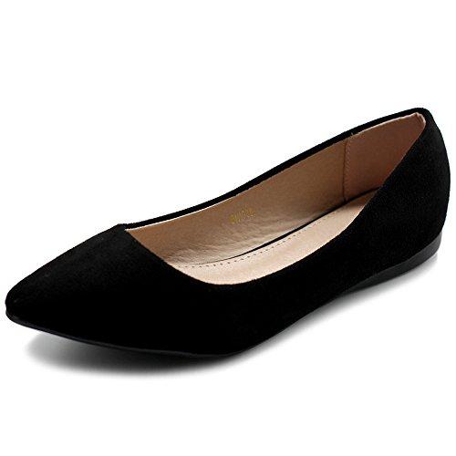 Ollio Damen-Ballettschuh, bequem, leicht, Wildlederimitat, mehrfarbig, flach, Schwarz (schwarz), 39 EU