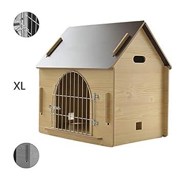 Cages et chenils Maison pour Animaux lit pour Animaux de Compagnie Villa pour Animaux de Compagnie Niche pour Chien en Plein air Litière pour Chat d'intérieur (Color : Brown, Size : 79.5 * 55 * 74cm)