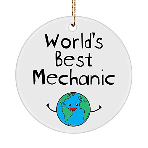 World's Best Mechanic Ornament for Christmast Tree Party - Diesel Aircraft Auto Automotive Elevator Car Motorcycle Master Mechanical Engineer - Round Shaped Circle