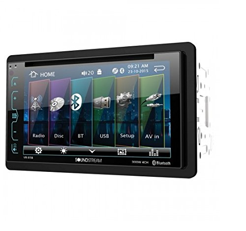"""Soundstream VR-65B Double-DIN Bluetooth DVD/CD/AM/FM in-Dash Car Stereo with 6.2"""" Smart Sense Screen"""