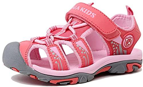 NASONBERG Kinder/Jungen/Mädchen Schuhe Klettverschluss Sommer Sandalen, Gr.-25 EU, Rosa