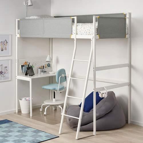IKEA/イケアVITVAL:ロフトベッドフレーム/デスクトップ付き/ベッドベース付き90x200cmホワイト/ライトグレー(893.039.37)
