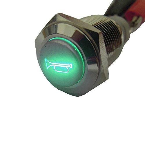 Mintice 12V Coche Vehículo Verde Luz LED Momentaria Altavoz Bocina Pulsador Botón Metal Interruptor 16mm