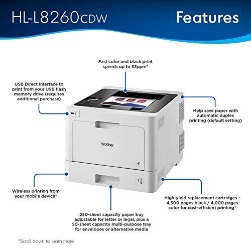 Brother HL-L8260CDW Color 2400 x 600DPI A4 WiFi - Impresora láser (2400 x 600 dpi, 40000 páginas por Mes, BR-Script 3,Microsoft XPS,PCL 6,PDF 1.7,XPS, Laser, 0-3000 páginas por Mes, 31 ppm)