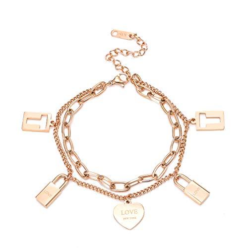 XXX Pulsera de mujer de acero de titanio de metal pesado pulsera femenina de 18 quilates chapado en oro rosa pulsera de hip hop