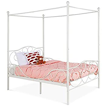 Best Choice Products 4-Post Metal Canopy Twin Bed Frame for Kids Bedroom Guest Room w/Heart Scroll Design 14-Slat Support System Headboard Footboard - White