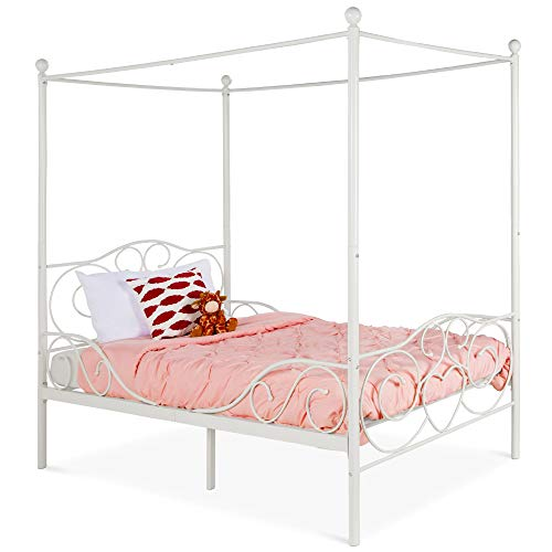 Best Choice Products 4-Post Metal Canopy Twin Bed Frame for Kids Bedroom, Guest Room w/Heart Scroll Design, 14-Slat Support System, Headboard, Footboard - White