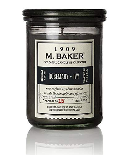 M. Baker by Colonial Candle Scented Apothecary Glass Jar Candle, Rosemary & Ivy, Natural Soy Wax Blend, 8 Oz, Premium Cotton Wick, Single (Moroccan Rosemary, Petitgrain, Roman Chamomile)