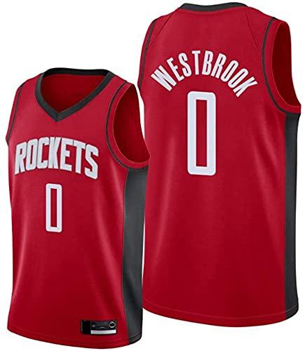 Ropa Camisetas de baloncesto de los hombres, Houston Rockets # 0 Russell Westbrook Nba sin mangas camisetas Tops sueltos Uniformes de baloncesto Chalecos deportivos casuales, Rojo, XXL (185 ~ 190cm)